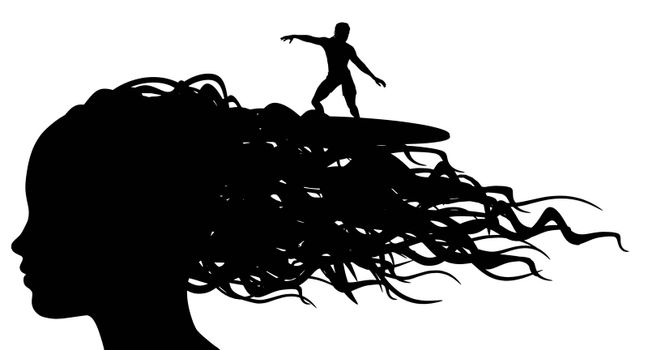Illustration of a person surfing on the waves of a womans hair