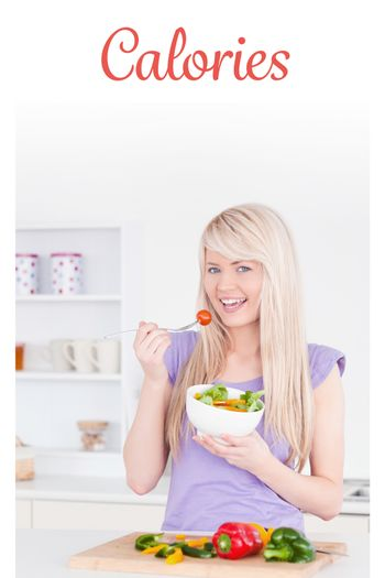 Calories against blonde smiling woman eating her salad