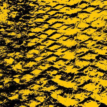 Grunge background with black tire track. Vector illustration.