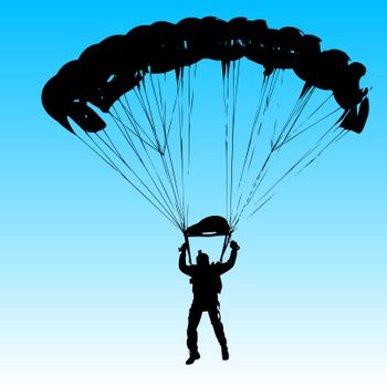 Parachutist Jumper in the helmet after the jump. Vector illustration.