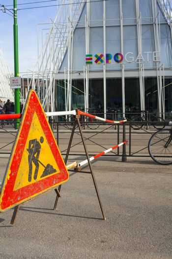 MILAN, ITALY - MARCH 29: View of under costruction sign next the Expo gate 2015 in Milan on March 29, 2015