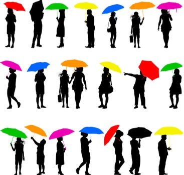 Set   silhouettes of men and women with color umbrellas. Vector illustration.
