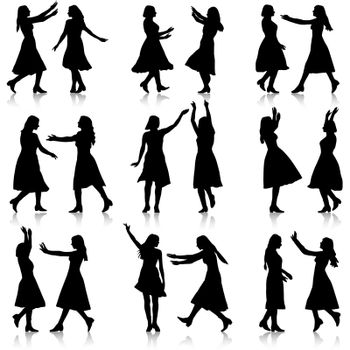 Black silhouettes of beautiful womans on white background. Vector illustration.