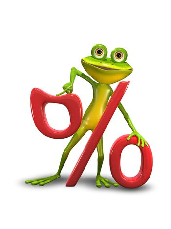 Illustration of a green cartoon frog and the percent sign