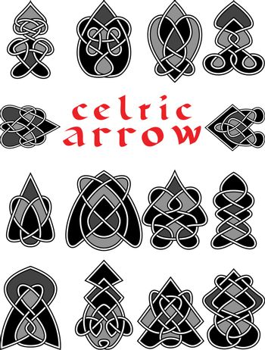 Set celtic arrows for design in a vector