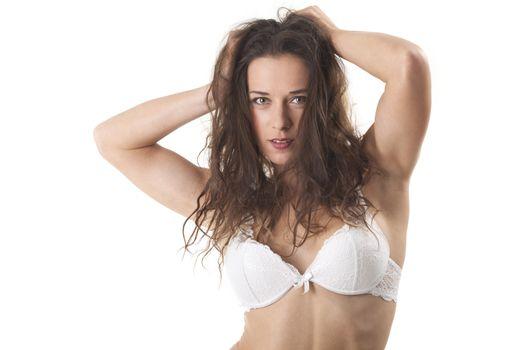 woman in bra on white