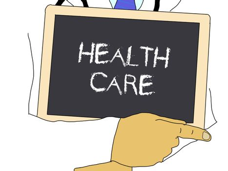Illustration: Doctor shows information: Health care