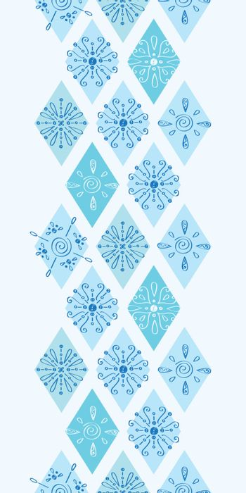 Vector abstract blue doodle rhombus vertical border seamless pattern background graphic design