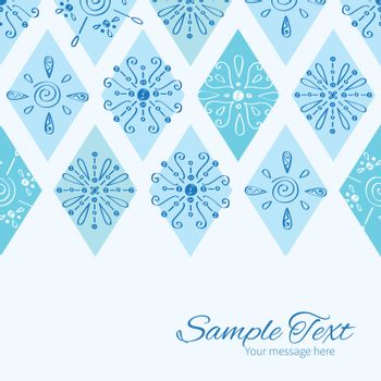 Vector abstract blue doodle rhombus horizontal border card template graphic design