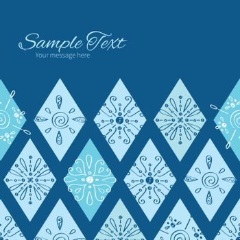 Vector abstract blue doodle rhombus horizontal frame seamless pattern background graphic design