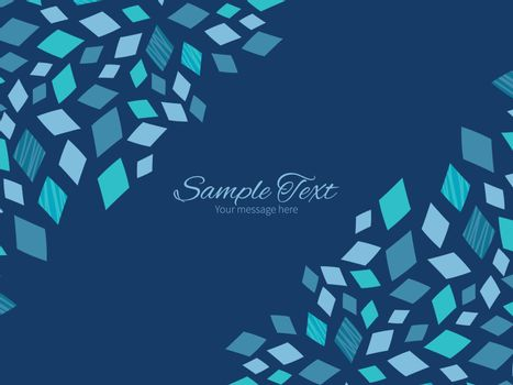 Vector blue mosaic texture horizontal double corners frame invitation template graphic design