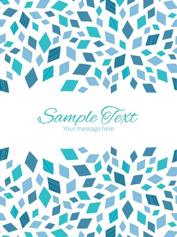 Vector blue mosaic texture vertical double borders frame invitation template graphic design