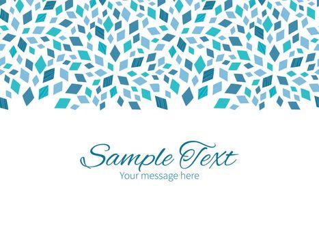 Vector blue mosaic texture horizontal border greeting card invitation template graphic design