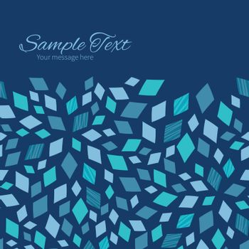 Vector blue mosaic texture horizontal frame seamless pattern background graphic design