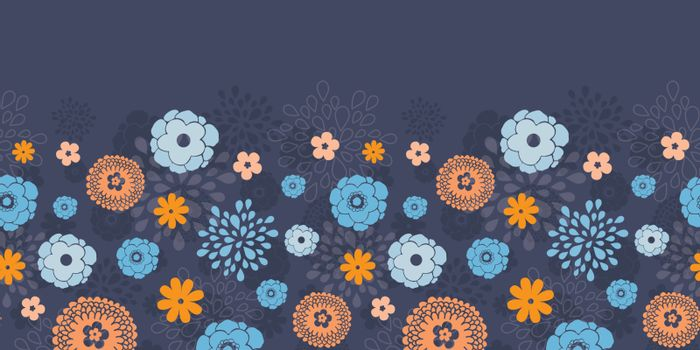 Vector golden and blue night flowers horizontal border seamless pattern background graphic design