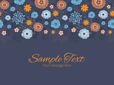 Vector golden and blue night flowers horizontal border greeting card invitation template graphic design