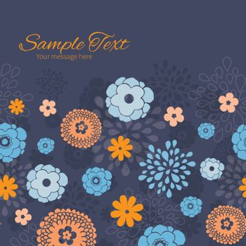 Vector golden and blue night flowers horizontal frame seamless pattern background graphic design