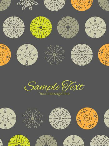 Vector abstract gray and green polka dot backgr vertical double borders frame invitation template graphic design