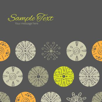 Vector abstract gray and green polka dot backgr horizontal frame seamless pattern background graphic design