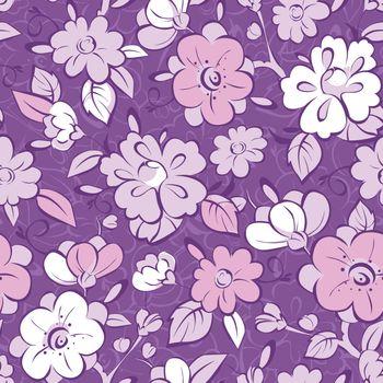 Vector purple kimono florals seamless pattern background graphic design