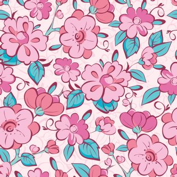 Vector pink blue kimono flowers seamless pattern background graphic design
