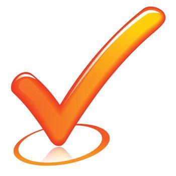 illustration of orange check mark on white background