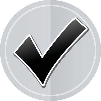 Illustration of checkmark sticker icon simple design