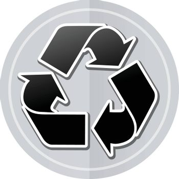 Illustration of recycle sticker icon simple design