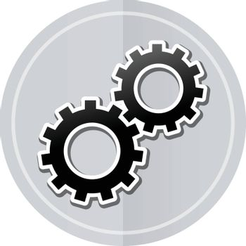 Illustration of gears sticker icon simple design