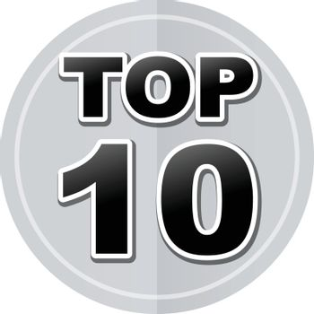 Illustration of top ten sticker icon simple design
