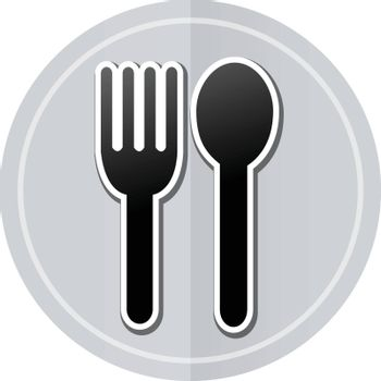 Illustration of flatware sticker icon simple design