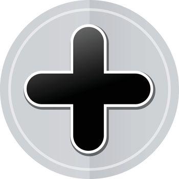 Illustration of plus sign sticker icon simple design