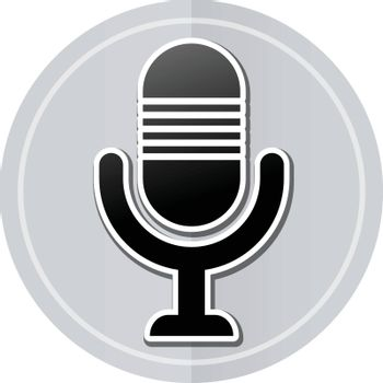 Illustration of microphone sticker icon simple design