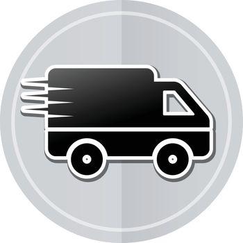Illustration of van sticker icon simple design