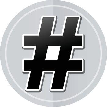 Illustration of hashtag sticker icon simple design