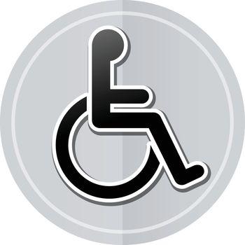 Illustration of wheelchair sticker icon simple design
