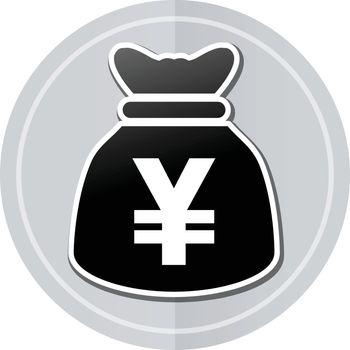 Illustration of yens bag sticker icon simple design