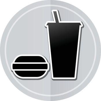 Illustration of food sticker icon simple design