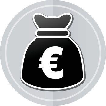Illustration of euros bag sticker icon simple design