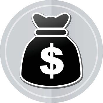 Illustration of dollars bag sticker icon simple design