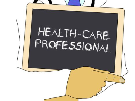 Doctor shows information: Health-care professional