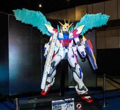 Bangkok - May 2: A Gundam model in Thailand Comic Con 2015 on May 2, 2015 at Siam Paragon, Bangkok, Thailand.