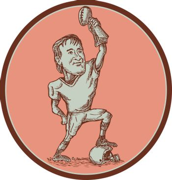 American Football Player Champion Trophy Drawing
