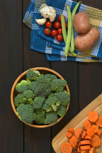 Raw Broccoli Florets and Other Vegetables