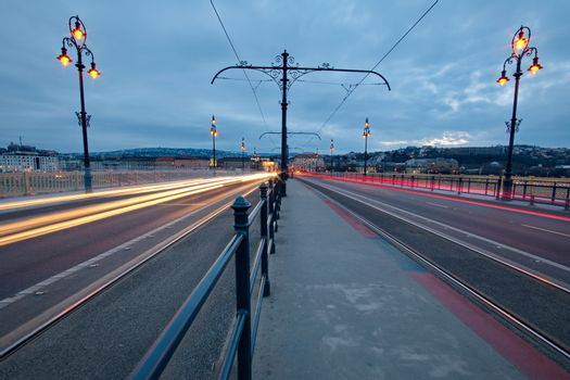 City lights on Margaret bridge in Budapest, Hungary
