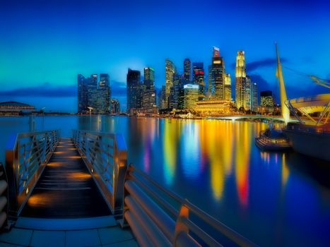 Singapore city skyline seen from the pier