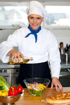 Chef preparing the vegetable salad