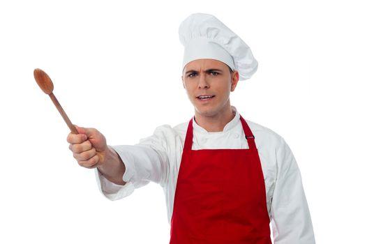 Chef showing kitchen essential