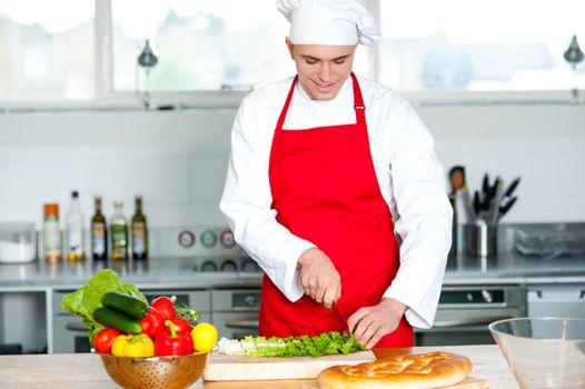 Chef preparing the dish