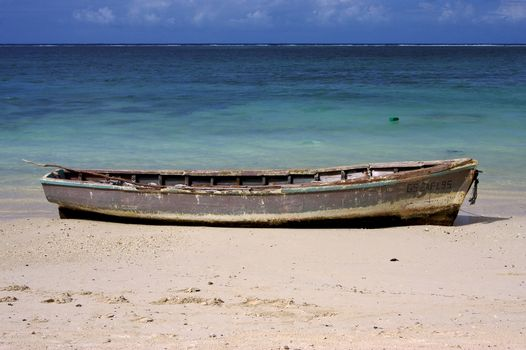 boat and  beach in belle mare